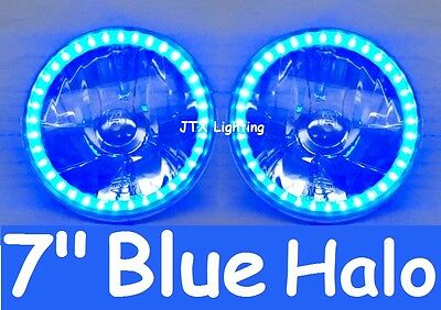 "BLUE 7"" Round LED H4 Semi Sealed Headlights Cadillac Allante Calais Brougham"