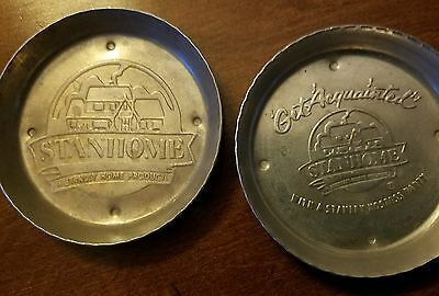 Hammered Aluminum Stanley Home Products COASTERS Party 2 VTG Advertising Gift