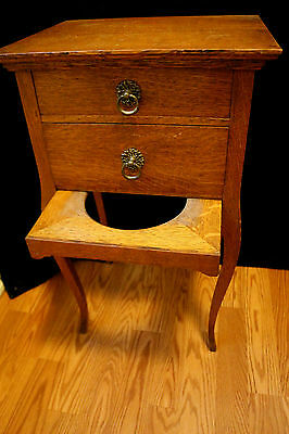 Rare American Oak 2 Drawer Night Stand & Sewing Table With Cloth Collecter Hoop