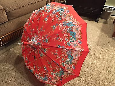 Vintage Red Blue Flowers Victorian  Domed Umbrella Brown Handle Pretty!