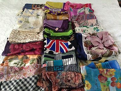 DESIGNER  SCARF LOT OF 50~Mostly Silk~Beautiful Preowned Collection !