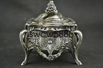Exquisite Chinese Tibetan Silver Handwork Carved Flower Jewelry Box Mry03