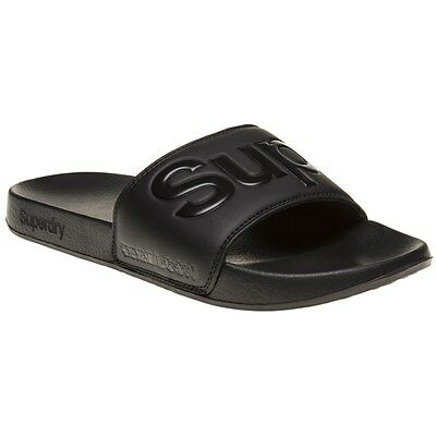 New Mens Superdry Black Scuba Synthetic Sandals Pool Slides Slip On