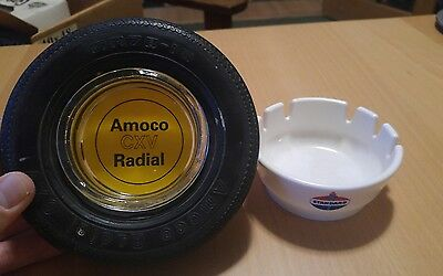Lot of 2 Amoco Promotional CXV Radial Tire and Standard Oil Ashtrays