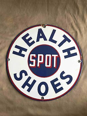 Old Health Spot Shoes Round Porcelain Advertising Store Sign