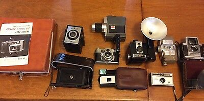 Lot of 9 vintage cameras AND 1 tower please look at description
