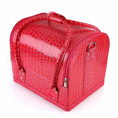 Large Beauty Vanity Makeup PU Leather Bags Cosmetic Box Case Nail Polish Storage