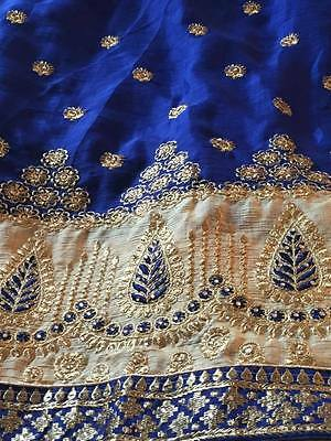 New Indian Ethnic Bollywood Designer Saree Wedding Party Wear Sari Royal Blue