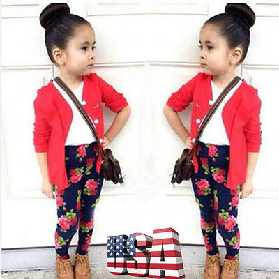 Baby Girl Kids T-shirt Tops+Cardigan Coat Outerwear+Pants Outfits Clothes Set US