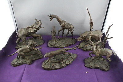 Rare Set of 6 Franklin Mint African Wildlife Signed Bronzes by Don Polland 1976