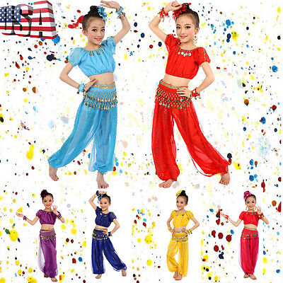 Kids Girl Professional Indian Dance Dresses Set Belly Dance Halloween Costume US