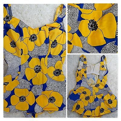 1960s-1970s Vintage 1PC SWIMSUIT~Blue/Yellow FLORAL w/SKIRT Nan Dorsey RARE!