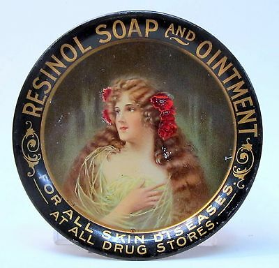 c. 1910 RESINOL SOAP & OINTMENT Type B tin litho tip tray ashtray High Grade