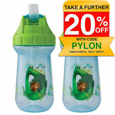 2PK Disney The Good Dinosaur Flip Top Straw Cup Toddler/Child BPA Free 296ml