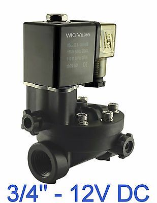 "3/4"" Inch PA66 Plastic Electric Air Water Solenoid Valve Manual Override 12V DC"