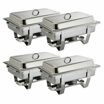 4x Chafer Chafing Dish Bain Marie Buffet 1/1 Food Warmer Stackable Hot Warming