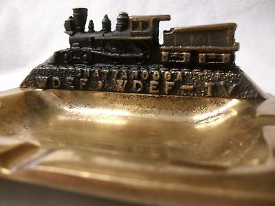 Old Chattanooga WDEF WDEF-TV Television Station Ash Tray Cast Bronze Train Figur