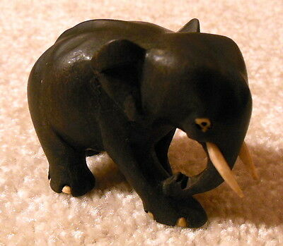 Vintage Hand Carved Small Wooden Elephant Figurine With Ivory Colored Tusks