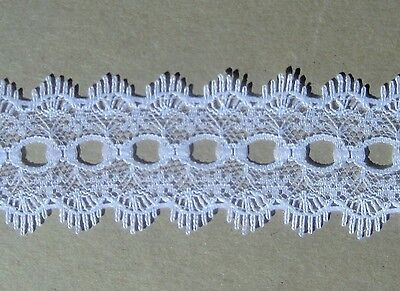 CRAFT-KNITTING EYELET 28mm White Eyelet Lace(mtr variations available)