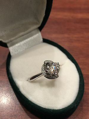 Solitaire with Accents Diamond (0.82ct) Engagement Ring in 18K White Gold