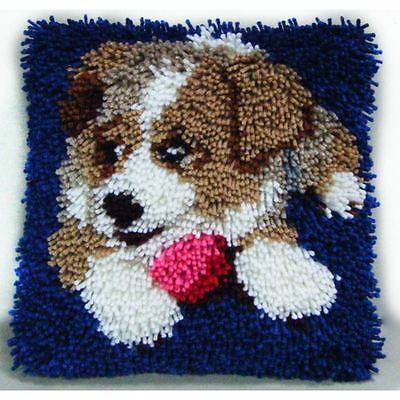 Hobbycraft Puppy Latch Hook Rug Kit 30 x 30 cm 15 Bundles Yarn Canvas Decoration