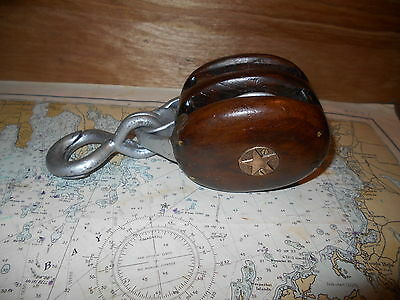 Vintage Quick Lath Double Wheel Mahogany Boston Lockport Nautical Star Pulley