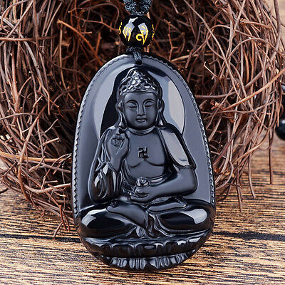 Natural Black Obsidian Carved Buddha Pendant Necklace unisex Lucky Amulet sk