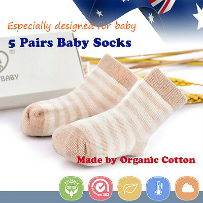 5 Pairs Baby Sock Bootee 100% Organic Cotton Toddler Kid Winter Warm 18-36M Crew