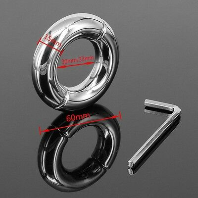 Stainless Steel Ball Stretcher Man Enhancer Chastity Ring Delay Time I.D.30 33mm