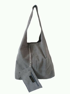 New Italian Genuine Real Leather Slouch Large Shoulderbag Tote Bag Suede Leather