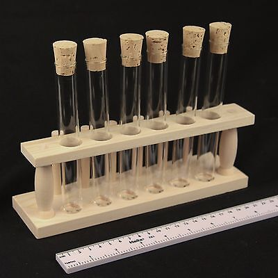 Glass Test Tubes with corks and wooden rack - spice rack storage 150mm x 20mm
