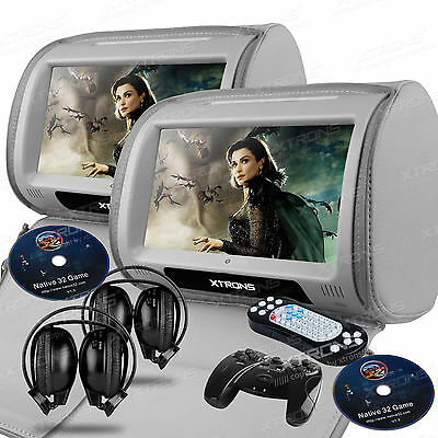 "XTRONS 7"" Gray Car Headrest Monitors w/DVD Player/USB/HDMI+Games+SD +Headphones"