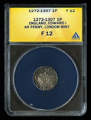 1272-1307 GREAT BRITAIN ENGLAND ONE PENCE 1p PENNY EDWARD I HAMMERED ANACS F 12