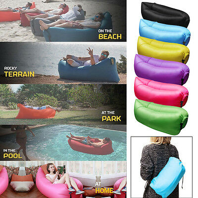 Fast Inflatable Air Bag Sofa Outdoor Beach Camping Sleeping Lazy Bed Hangout bag