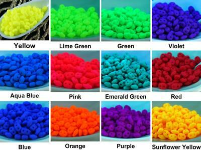 10g UV Active Neon Matte SUPERDUO Czech Glass Seed Beads Two Hole Super Duo 2...
