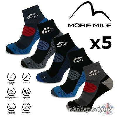More Mile London Cheviot Mens Womens Cushioned Running Trail Sports Socks 5 Pair