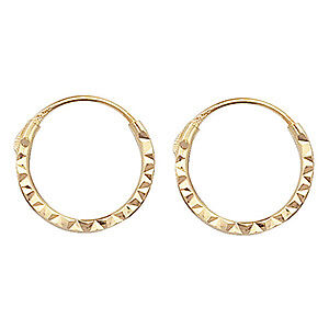 Small 9ct Carat Yellow Gold Sleeper Hoop Earrings Outer Dimensions 10*11mm