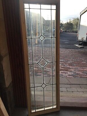 "Sg 1381 Antique Leaded And Beveled Glass Transom Window 14"" X 45"