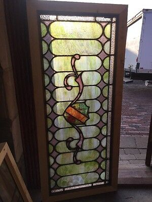 Sg 1382 Antique Stainglass Transom Window 22 And Five Eights By 52 1/2