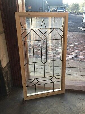 "Sg 1383 Antique Leaded Glass Vertical Window Geometric 18"" X 30 3H"