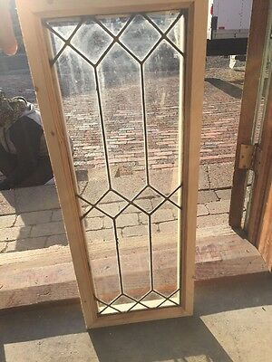 "Sg 1387 Antique Leaded Glass Transom Window 12"" X 32"""