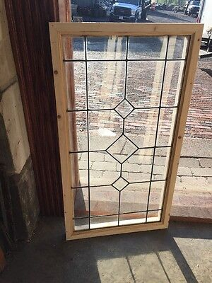Sg 1390 Antique Leaded With Beveled Center Transom Window 18h X 33