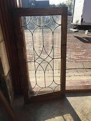 "Sg 1392 Antique Leaded Glass Window 18"" X 36"""