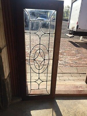 "Sg 1394 Antique Leaded Glass Transom Window 16"" X 41.5"""