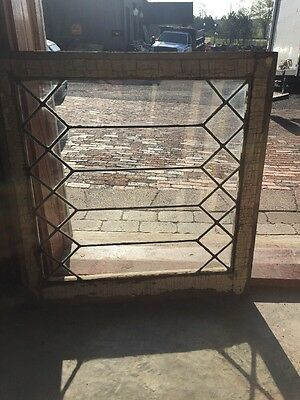 Sg 1395 Antique Geometric Leaded Glass Window 25. Two 5 X 20 4W