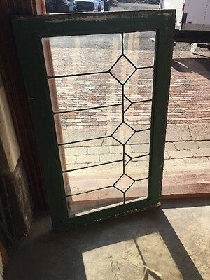 Sg 1396 Antique Leaded And Beveled Glass Transom Window 21 High By 34 1/2 W