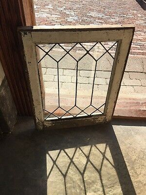 Sg 1398 Antique Geometric Leaded Glass Window 20.25 X25.25 H