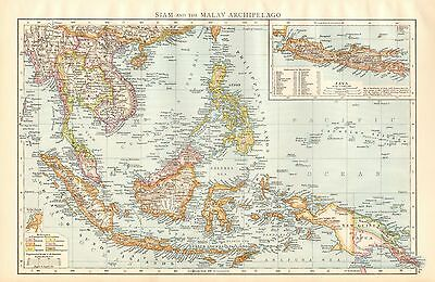1895 Large Antique Map-Siam And The Malay Archipelago