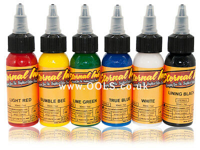 100% Authentic Eternal Tattoo Ink Primary Colour Set 6 x 1oz - UK Supplier