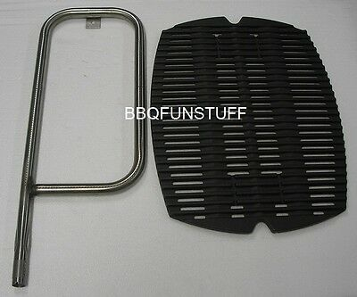 Weber Q100 Q120 Q1000 Cast Iron Cooking Grate & Stainless Steel Burner Combo New